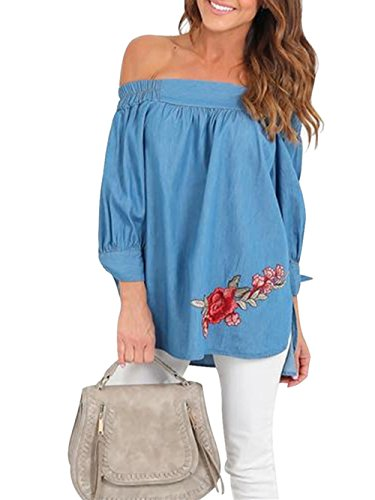 238d3f421a8 Dongpai Women's Off Shoulder Denim 3/4 Sleeve Floral Embroidery Blouse T-Shirt  Top