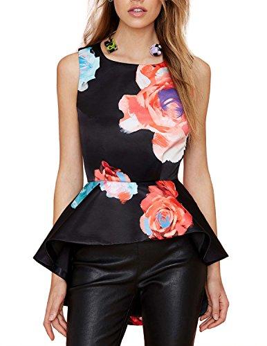 d1d754b6b5a70 HaoDuoYi Womens Black Ruffle Peplum Floral Print High Low Racer Back ...