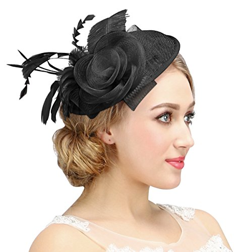 c72e7ebf6a5bf Valdler Womens Feather Mesh Net Sinamay Fascinator Hat with Hair Clip Tea  Party Derby. You can style your hair like a bun and use it as a bridal  flower hair ...