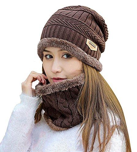 c64af0a4717 HindaWi Womens Beanie Winter Hat Scarf Set Slouchy Warm Snow Knit ...