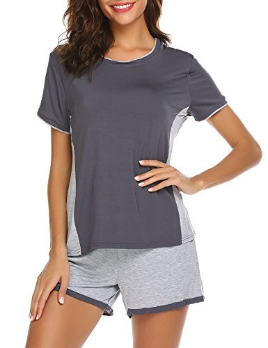 L amore Womens Short Sleeve Pajama Set Two Piece Round Neck With ... b352719e6