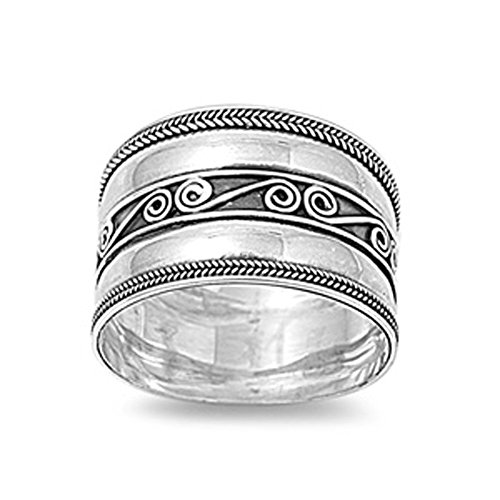 CloseoutWarehouse Oxidized Sterling Silver Ancient Concave Ring