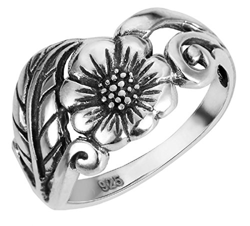 CloseoutWarehouse Oxidized Sterling Silver Twin Feathers Wrapped Around Ring