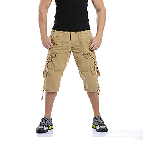 4dbe635a7b MR. R Men's Relaxed Fit Solid Long Cargo Shorts Capri Pants No Belt ...