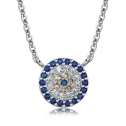 TONGZHE Blue Evil Eye Link Bracelet in Sterling Silver 925 with Cubic Zirconia CZ and 6.5+1 Cable Chain