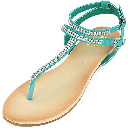 3fa0b80bfd94 alpine swiss Womens Turquoise Slingback T-Strap Rhinestone Thong Sandals 8  M US