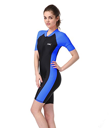 151ccd3ac57f BIKMAN One-Piece Snorkeling Surfing Swim Suit Short Sleeves Plus Size  Swimwear- Sun Protection XXLWeight:154lbs-176lbs, Blue
