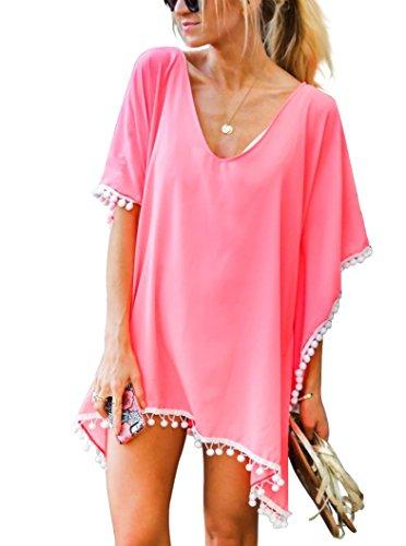 9022ddd8695b2 Adreamly Women's Pom Pom Trim Kaftan Stylish Chiffon Swimwear Beach Cover  up Free Size Coral Pink