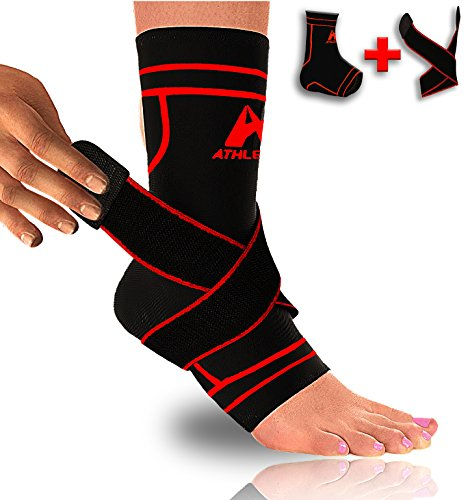 Ankle Brace Compression Sleeve Support Strap - Pain Relief Plantar Fasciitis Ligament Tendon Injuries
