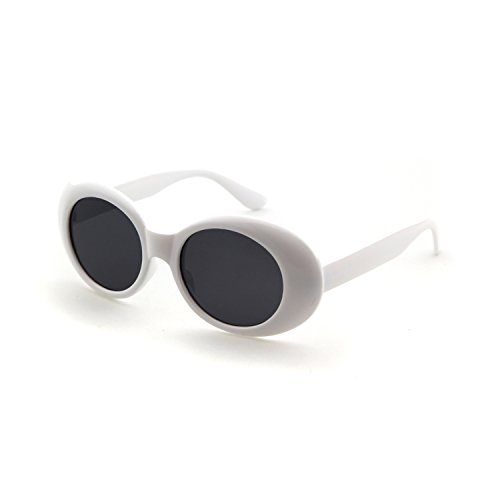 c07795014c8 Bold Retro Oval Mod Thick Frame Sunglasses Clout Goggles with Round Lens
