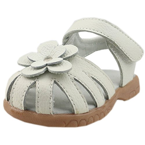 0d79c6b8045f4 SENFI Girl's Sandal Closed-Toe Leather Floral Casual Princess Flat ...